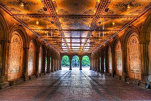 Bethesda Terrace and Fountain - Image: Early morning view under Bethesda Terrace, Central Park, NYC