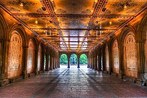 Early morning view under Bethesda Terrace, Central Park, NYC