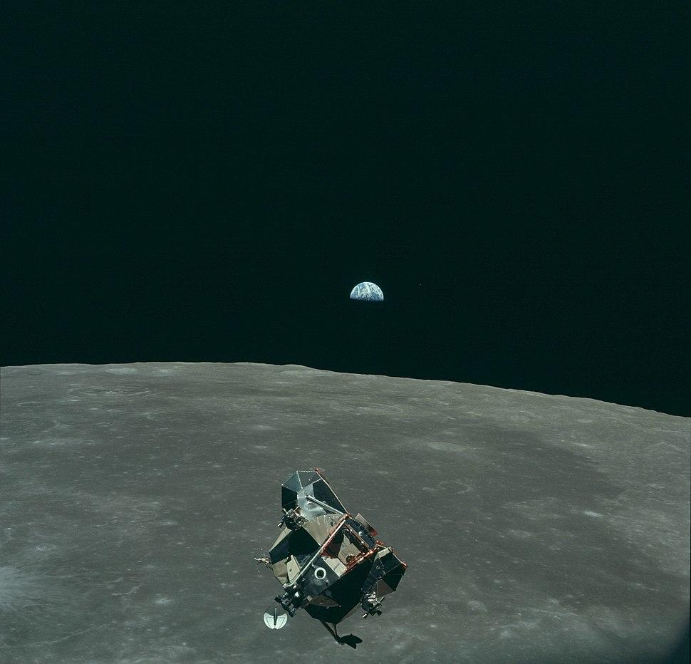 Earth, Moon and Lunar Module, AS11-44-6643