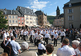A procession of people dancing steps in rows of five, on a place with spectators.