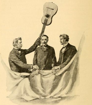 Eddy Brothers - A sketch revealing the séance trick that Horatio (left) would use.
