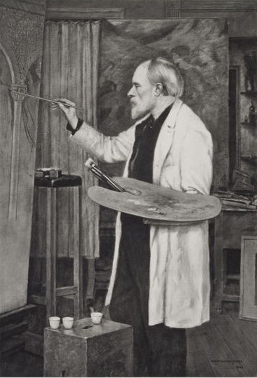 Photogravure of portrait of Burne-Jones by his son Philip