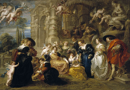 Peter Paul Rubens, Garden of Love, 1630-35, the apotheosis of the outdoor courtly company El Jardin del Amor (Rubens) (alta resolucion).jpg