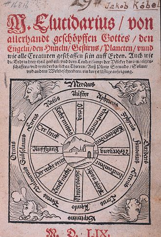 Elucidarium - A German chapbook version printed in 1559. The title page shows a compass rose with the names of twelve winds.