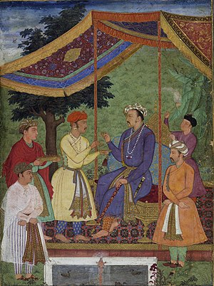 Khusrau Mirza - Emperor Jahangir receiving his two sons, Khusrau and Parviz, an album-painting in gouache on paper, c. 1605-06