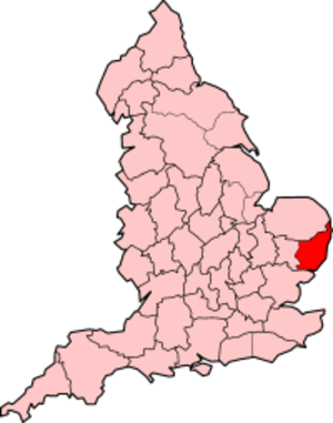 East Suffolk - East Suffolk shown with 1965-1974 boundaries.