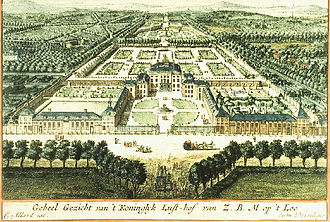 Het Loo Palace - Het Loo and its gardens, more ambitious than they were actually executed, in an early-18th-century engraving (watercolor added)