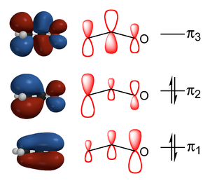 Molecular orbitals of an enolate, showing the occupancy corresponding to the anion.