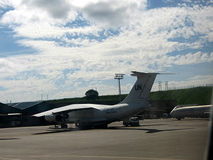 Entebbe International Airport - The United Nations Ilyushin Il-76 parked at Entebbe Airport.