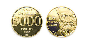 Ferenc Erkel - 200th Anniversary of birth of Ferenc Erkel, memorial coin, Hungarian National Bank, 2010, designer László Szlávics, Jr.