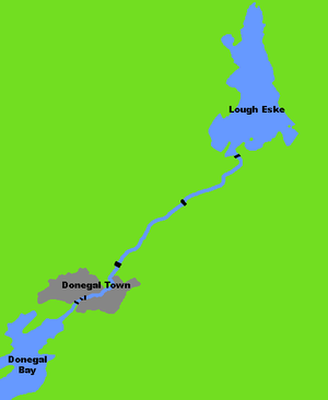 River Eske - Map showing the flow of River Eske and the six road bridges that cross it