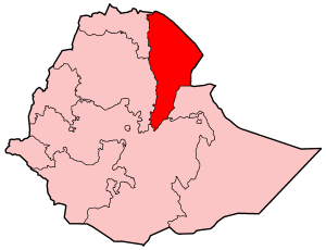 Bidu (woreda) - Map of Ethiopia showing the Afar Region