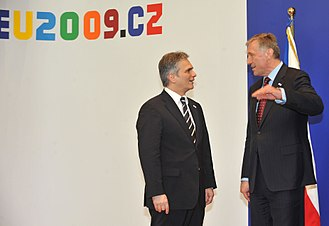Mirek Topolánek - Topolánek and Werner Faymann during Czech presidency