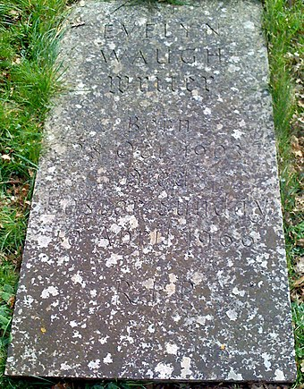 Waugh's grave in Combe Florey, adjacent to but not within the Anglican churchyard. Evelyn Waugh Grave.jpg