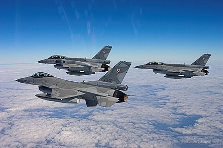Polish Air Force F-16s, a single-engine multirole fighter aircraft F-16 Jastrzab (48).jpg