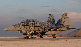 Tigerstripe - F/A-18 Hornet of VMFA(AW)-224 in tigerstripe livery for decoration rather than camouflage.