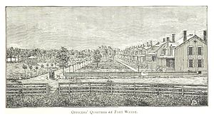 Fort Wayne (Detroit) - The Officers' Quarters in a 1884 drawing by Silas Farmer