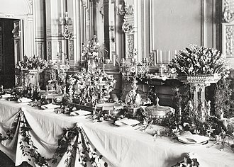 Neo-Gothic Alexander and Barbara Kelch's silver service - View of the Kelch silverware. Fabergé Exposition in Petersburg. Photo 1902.