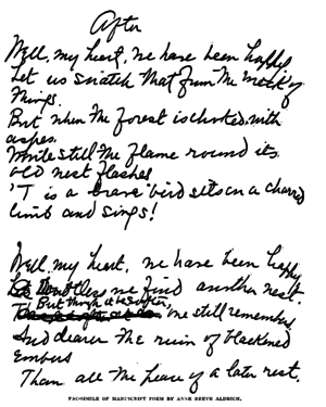 Anne Reeve Aldrich - Facsimile of a poem draft by Anne Reeve Aldrich