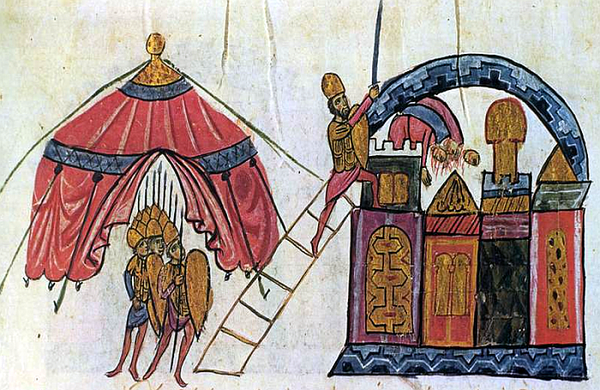 Fall of Antioch to the Byzantines under Michael Bourtzes on 28 October 969. Chronicle of John Skylitzes, 12th century illustration.