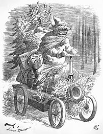 1896 engraving of Father Christmas driving an early car