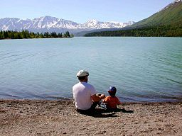 Fathers day father with kid on lake