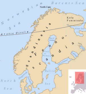 Fennoscandia - Map describing the Fennoscandian, Scandinavian and the Kola Peninsulas.