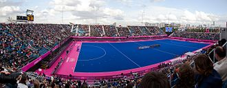 Field hockey at the 2012 Summer Olympics – Women's tournament - The stadium before the USA vs New Zealand game