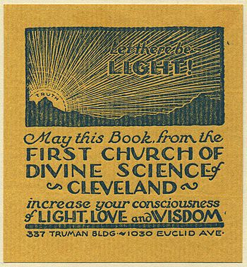 A bookplate from the 1st Church of Divine Science, Cleveland, provisionally dated from the early 20th century