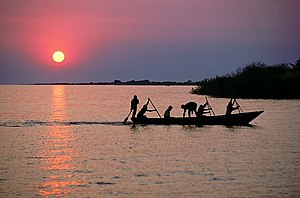 English: Fisherman on Lake Tanganyika, Mishemb...