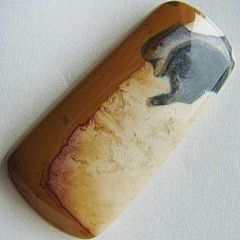 A freeform cabochon of Ohio flint with a pattern of cream and ochre bands and a bluish black pattern at one end.
