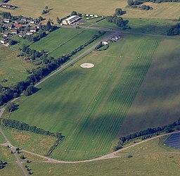 Aerial view of the Ailertchen aerodrome (EDGA)