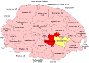 Forehoe and Henstead Rural District - Position within Norfolk, 1894