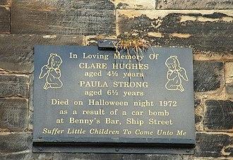 Benny's Bar bombing - Memorial plaque at St Joseph's Church, Sailortown