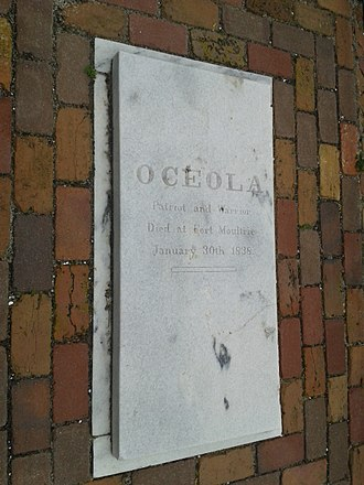 Osceola - Osceola's grave at Fort Moultrie