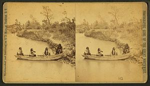 Ponca Creek (Missouri River tributary) - Image: Four Indian men in a boat on Ponca creek, by Stanley J. Morrow
