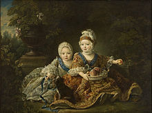 Der Herzog von Berry (rechts) und der Graf der Provence (LudwigXVIII.) (links) als Kinder (Gemälde von 1757 von François-Hubert Drouais) (Quelle: Wikimedia)