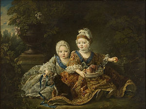 Louis XVIII of France - The Count of Provence and his brother Louis Auguste, Duke of Berry (later Louis XVI), depicted in 1757 by François-Hubert Drouais.