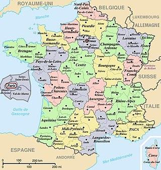 Franciaország európai részének 22 régiója és 96 megyéje