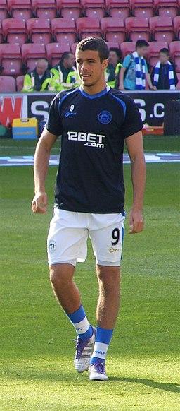 Franco Di Santo warming up, Wigan Athletic v Bolton Wanderers, 15 October 2011