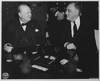 Allied leaders of World War II - US President Franklin D. Roosevelt and British Prime Minister Winston Churchill during the Casablanca Conference, January 1943.