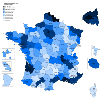 Map Of France Departments.List Of French Departments By Population Wikipedia