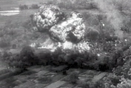 A Bearcat of the Aéronavale drops napalm on Việt Minh Division 320th's artillery during Operation Mouette (11.1953).
