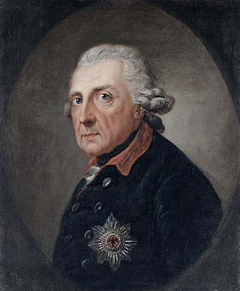 Frederick the Great (1712-1786) was one of Europe's enlightened monarchs. Friedrich der Grosse (1781 or 1786) - Google Art Project.jpg
