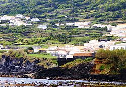 The medieval fort of Santa Catarina, with the hilltop neighborhood of Almagreia; one of the historical buildings in the municipality of Lajes do Pico