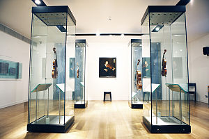 Royal Academy of Music Museum - Full view of string gallery in the Royal Academy of Music Museum