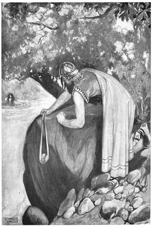 Furbaide Ferbend - Furbaide readies his sling, from T. W. Rolleston's Myths and Legends of the Celtic Race, 1911 (illustration by Stephen Reid)