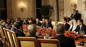 2008 G20 Washington summit - President Bush and the other summit leaders at a working dinner in the East Wing of the White House.