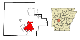 Garland County Arkansas Incorporated and Unincorporated areas Hot Springs Highlighted.svg
