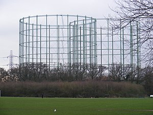 Motspur Park - The large gasometers at Motspur Park are visible across most of SW London.
